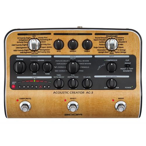 Изображение процессора эффектов для акустической гитары Zoom AC-3 – Top Front View | Leader Promusic