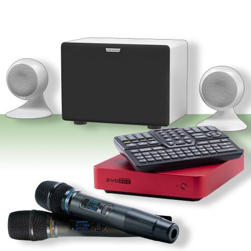 Изображение караоке-комплекта для дома и офиса Studio Evolution EvoSphere WH – Front Side View Set | Leader Promusic