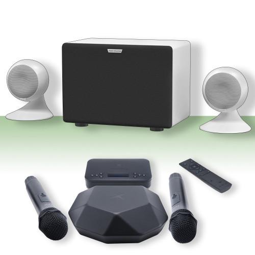 Зображення караоке-комплекту для дому та офісу Online X-EvoSphere WH - Front Side View Set | Leader Promusic