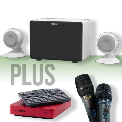 Зображення караоке-комплекту для дому та офісу Studio Evolution EvoSphere+ WH – Front Side View Set | Leader Promusic