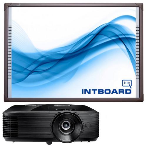 Зображення комплекту з інтерактивною дошкою Intboard PS51/2S – Set Front Side View | Leader Promusic