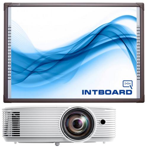 Зображення комплекту з інтерактивною дошкою Intboard PS53/2S – Set Front Side View | Leader Promusic