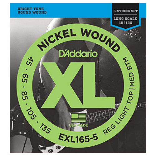 Зображення струн для бас-гітари – D`Addario Exl165-5 XL – Front Side View | Leader Promusic