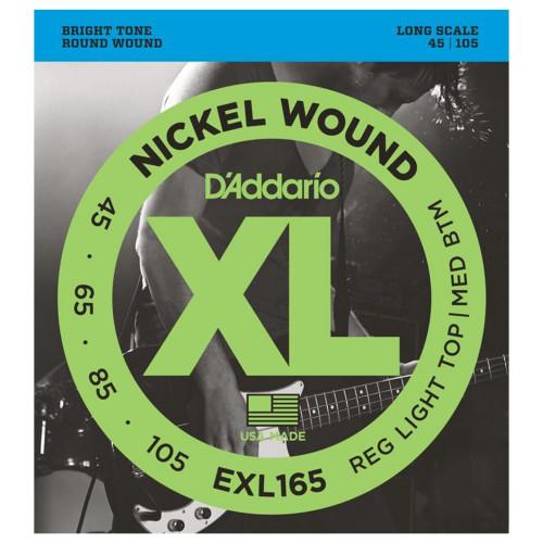 Изображение струн для бас-гитары – D`Addario EXL165 XL – Front Side View | Leader Promusic