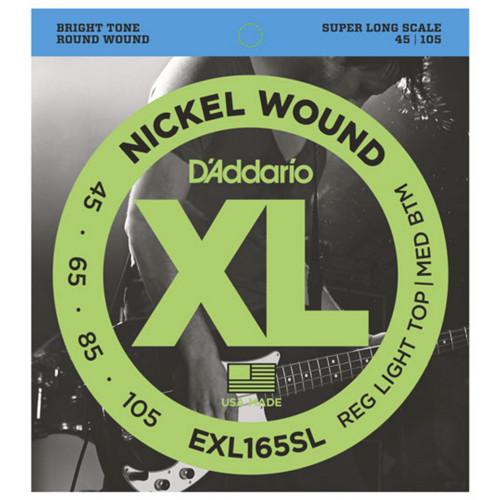 Зображення струн для бас-гітари – D`Addario EXL165SL XL – Front Side View | Leader Promusic