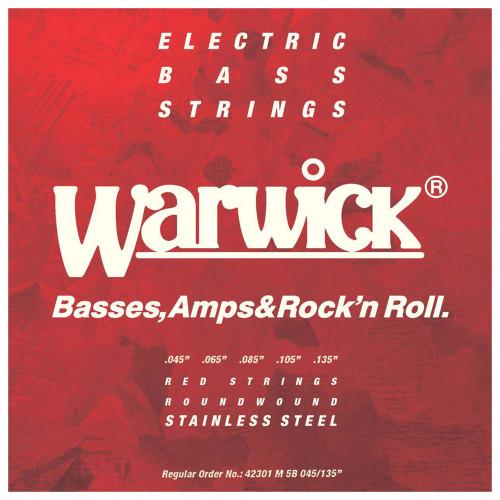 Зображення струн для бас-гітари – Warwick 42301 Red Medium – Front Side View | Leader Promusic