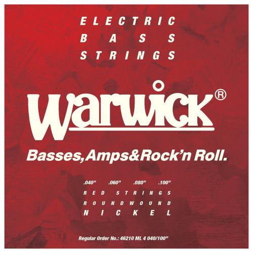 Зображення струн для бас-гітари – Warwick 46210 Red Medium Light – Front Side View | Leader Promusic