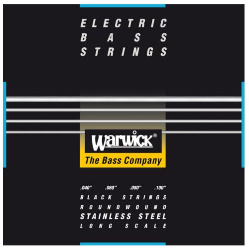 Зображення струн для бас-гітари - Warwick 40210 Black Label Medium Light - Front Side View | Leader Promusic