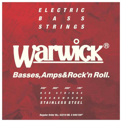 Зображення струн для бас-гітари – Warwick 42210 Red Medium – Front Side View | Leader Promusic